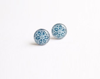 10 mm small studs, tiny studs, blue stud earrings, blue studs, small earrings, blue earrings, ethnic earring, ethnic jewelry,