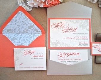 Orange and Champagne Wedding Invitation-Sample
