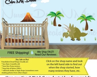 Kids Dinosaur Mural, Dinosaur Wall Decals, Murals For Kids Room, FULL Triceratops (FULL_Triceratop_93) DINO VOL