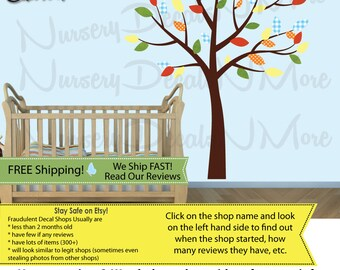 Kids Room Tree Decals with leaves, Nursery Wall Decal, Brown Tree Stickers (CMH) SmTO