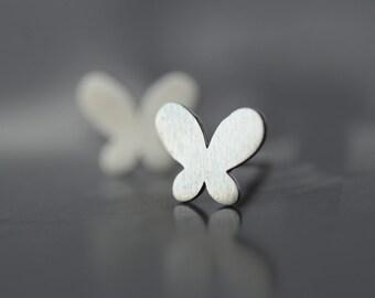 925 Sterling Silver Butterfly Matte Finish Silver Stud Earrings 720