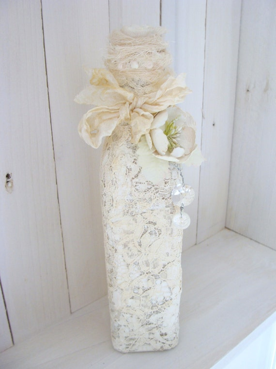 Altered Bottle Shabby Chic Lace French Country Cottage Style Winter White Mixed Media