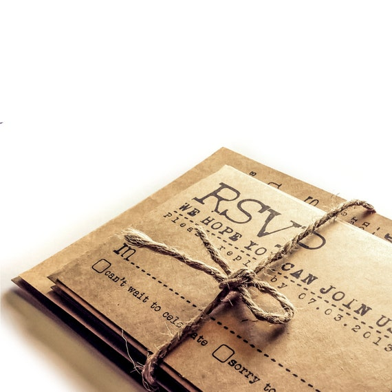 Typewriter wedding invitation set - KRAFT paper - Vintage Wedding Suite - Rustic wedding invitations - Sample set