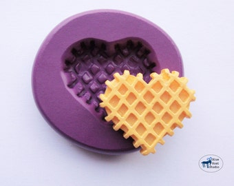 Waffle Heart Cookie Mold/Mould - Decoden Sweets Kawaii - Silicone Molds - Polymer Clay Resin Fondant
