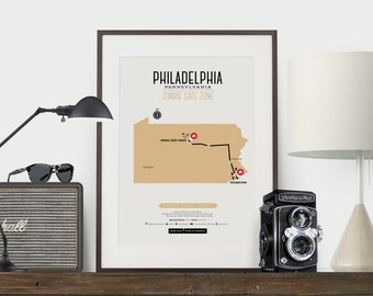 Zombie Safe Zone Philadelphia Map Poster - Philadelphia City Map