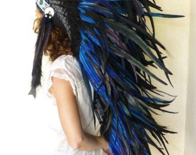 Medium Electric Blue Feather Headdress (36 inch long )