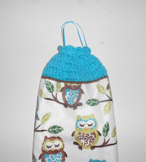 Owl bag holder owl kitchen decor crochet trimmed bag holder Owl kitchen accessories