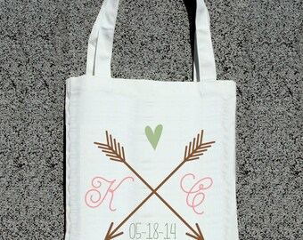 Arrow Heart Couple Initial Totes - Wedding Welcome Tote Bag