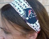Houston Texans Handmade Inspired Texans Headband Elastic bottom fabric head band