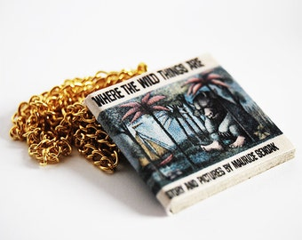 Where the wild things are mini book necklace