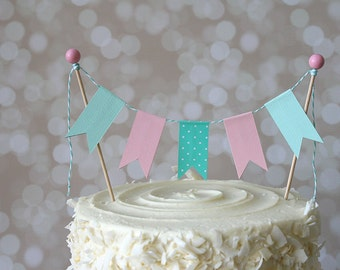 Pink & Aqua Cake Bunting Pennant Flag Cake Topper-MANY Colors to Choose From!  Birthday, Wedding, Shower Cake Topper