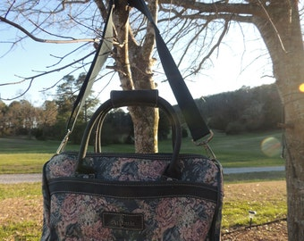 ATLANTIC Brand Pink Rose and Greenery Patterned Tapestry Zip Up Large Capacity travel Carry On Bag P000134-By God Oddities Decor on Etsy