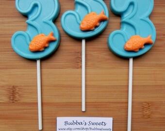 """Number THREE """"GOLDFISH"""" Chocolate Pops (12) - GOLDFISH Birthday/Mermaid Birthday"""