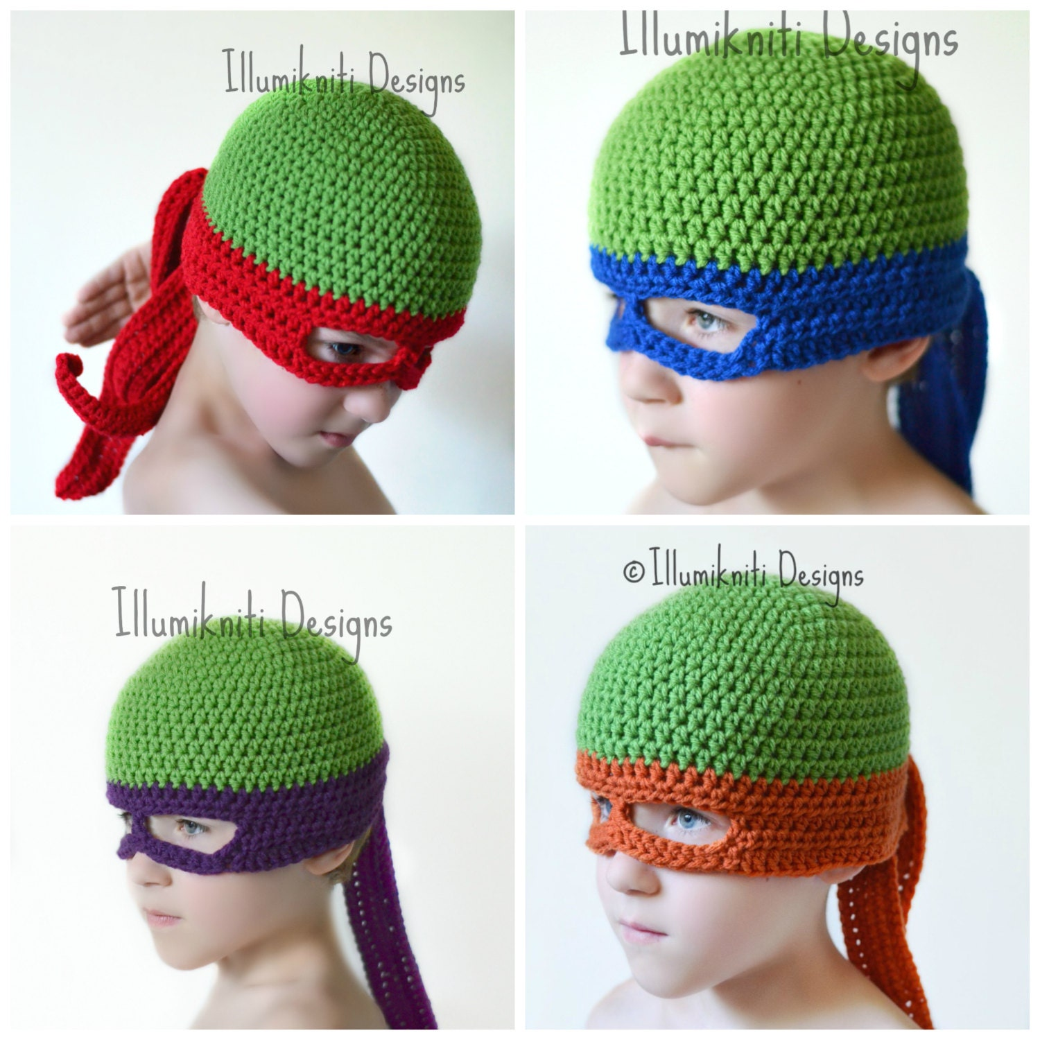Crochet Ninja Turtle : Turtle Ninja Hat Crochet Fun Made to Order by illumiknitiDesign