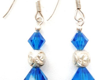 Vintage Sterling Silver  Blue Crystal  Earrings