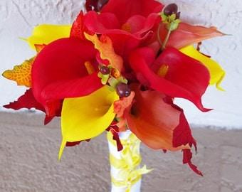 fall silk flower bridal bouquet sunflowers ranunculus calla. Black Bedroom Furniture Sets. Home Design Ideas