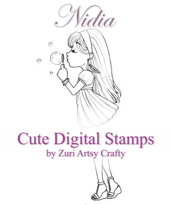 INSTANT DOWNLOAD / Bubbles / Digi Stamps / Digital Stamps / Big Eye / Cute Girl / Anime Manga Style / NIDIA