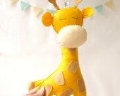 Giraffe Stuffed Toy, Felt giraffe decor, Nursery decor, Baby nursery decor, Kids art, Kids room decor,