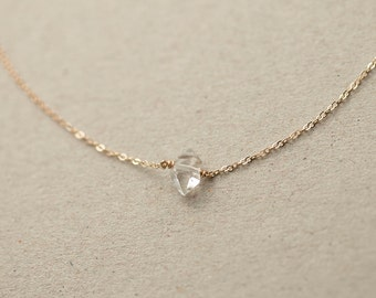 Delicate Herkimer Diamond Necklace / Minimal Raw Crystal Necklace on 14k Gold Fill Chain / Simple, Short Layered and Long Necklace LN607