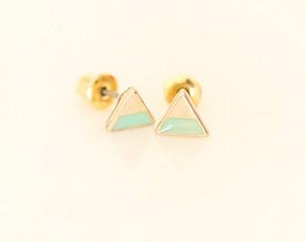 Mint Triangle earring studs - Enamel Geometric earring studs