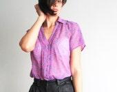 Vintage Esprit purple vintage shirt Button up shirt Small flowers shirt Transparent shirt 80s (S/M)