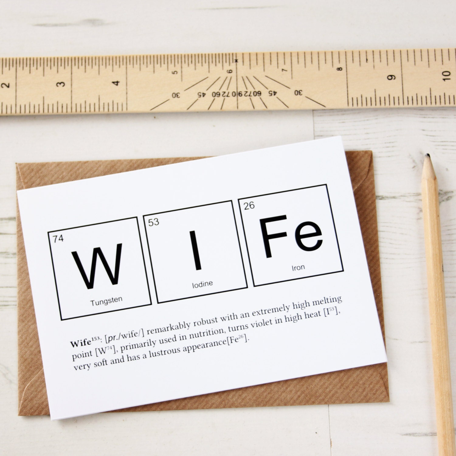 WITTY WIFE ELEMENTS Card Periodic Table Anniversary Wedding
