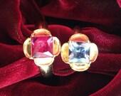 "Replica Tudor Style Gold-Plated ""Ruby"" Ring for Renaissance/Elizabethan Reenactment - Medium Size"