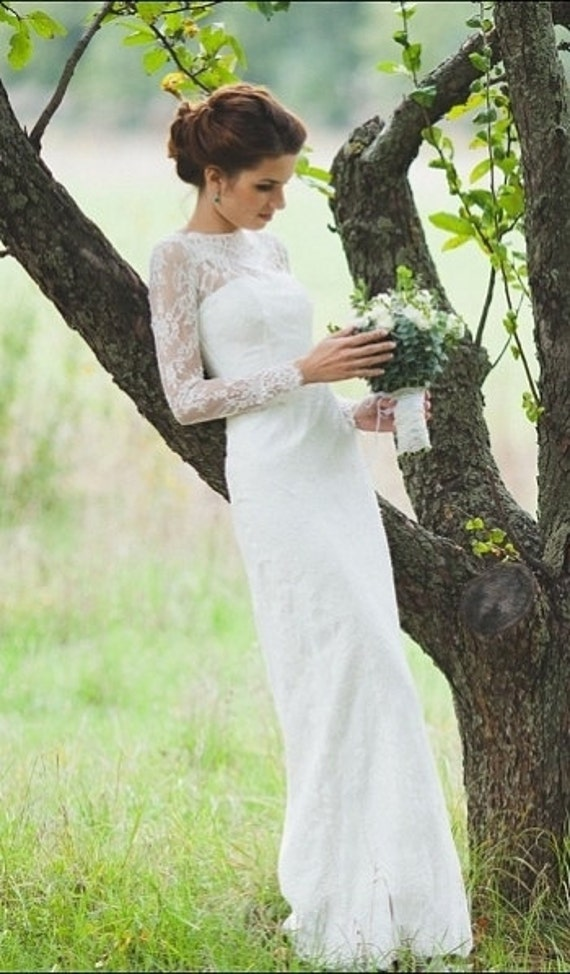 Fitted Style Lace Wedding Dress With Long Sleeves L38