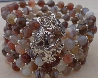 Multi strand Bracelet, Memory Wire Bracelet, Coiled Bracelet, Wrap Bracelet, Botswana Agate Bracelet, Sterling Silver Charm Bracelet, OOAK