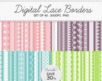 Digital Lace Borders Frames Bundle / INSTANT DOWNLOAD / Clip Art Set of 40 / 162