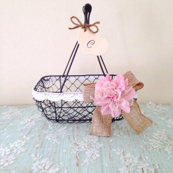 Rustic Flower Girl Basket - Wire Wedding Basket, Burlap Wedding, Pink // FG01