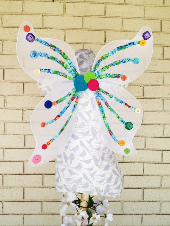 White Fairy Wings With Button Accents (Made by The Button Fairy)