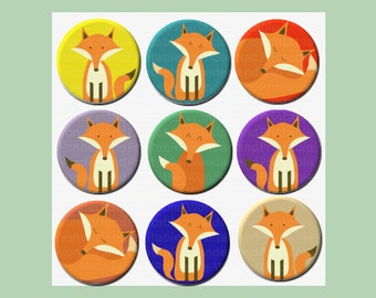 Fox digital collage sheet - 1 inch and 2 inch circles - Colourful images of foxes