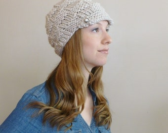 Women's Hand Knit Newsboy Hat with Visor and Two Pearl Buttons with Antique Silver Lining - Autumn Accessories - Neutral Hat - Newsboy Hat