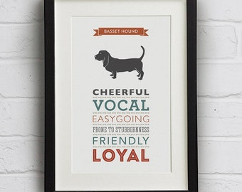 Basset Hound Dog Breed Traits Print - Great Gift for Basset Lovers!