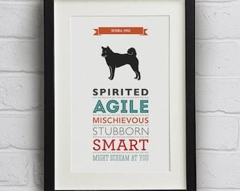 Shiba Inu Dog Breed Traits Print