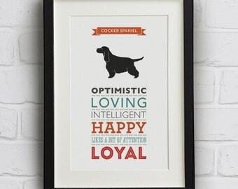 Cocker Spaniel Dog Breed Traits Print