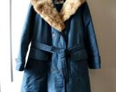 RESERVED !!! Sixties plus size blue fur collar parka vintage coat // large, extra large 12 14 16 winter jacket 1960