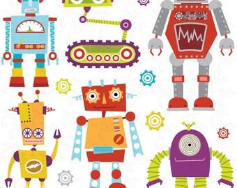 "Robots Clipart Pack ""CUTE ROBOTS"" digital clip art, Cute Robots, Robots, Funny Robot perfect for scrapbooking, invitations, party card Rb003"