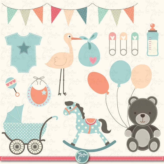 Baby shower clipart quot baby shower quot clip art birth announcement baby