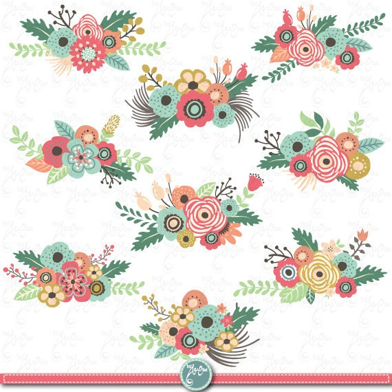 Flowers Clipart Pack FLOWER CLIP ART Pack Vintage Flowers Spring Flower Weding Flower