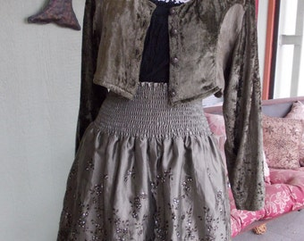 The Green Fairy: Upcycled Steampunk Skirt and Bolero Jacket Combination in Women's Size MEDIUM-LARGE