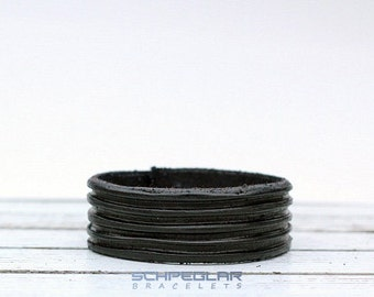 BLACK grooves leather BRACELET, elegant black bracelet