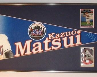 """New York Mets Kazuo """"KAZ"""" Matsui Pennant & Cards...Custom Framed!"""