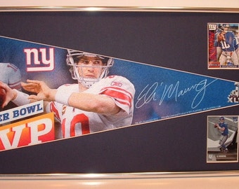 NY Giants Eli Manning Super Bowl MVP Pennant & Cards...Custom Framed!!!!