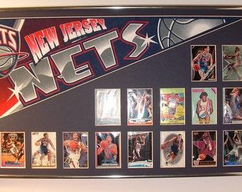 Vintage New Jersey Nets Basketball Pennant & Cards Retrospective...Custom Framed