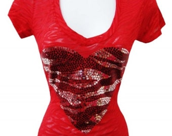 Red Graphic Sequin Heart Tee