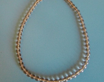 50s pink glass bead necklace