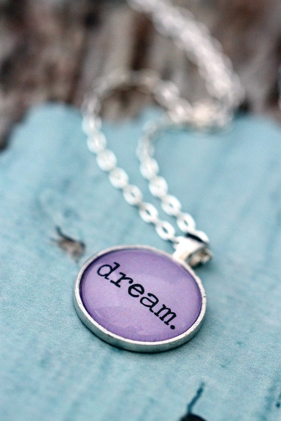 FREE SHIPPING Lavender Dream Necklace. In silver or bronze setting.