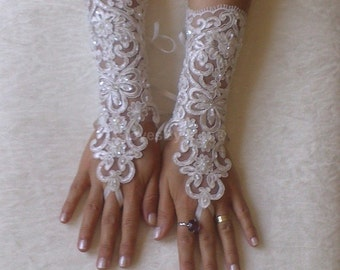 Grandeur  luxury Wedding Gloves, Sparkles Stones, Lace Wedding Accessory, Bridal accessory, Fingerless Gloves, Ivory, 260